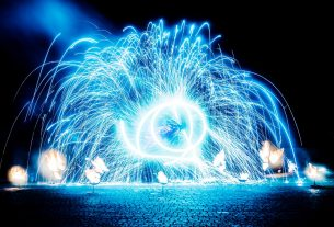 fiery pieces of a fire show