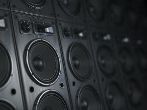Multimedia acoustic sound speaker system. Music concept backgr
